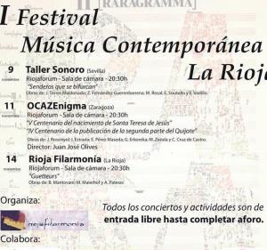 I FESTIVAL MÚSICA CONTEMPORÁNEA LA RIOJA