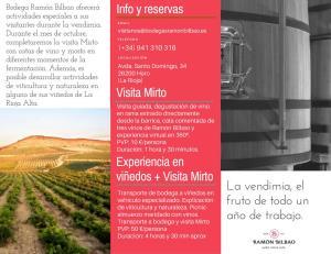 Actividades especiales de vendimia en Bodegas Ramón Bilbao