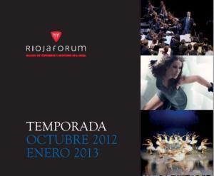 Programación cultural Riojaforum octubre 2012 - enero 2013