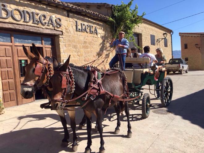 La Poda en carro de mulas y un vaso al pie de la cuba