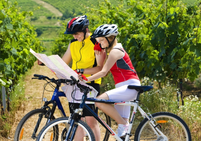 Bike + winery in spring