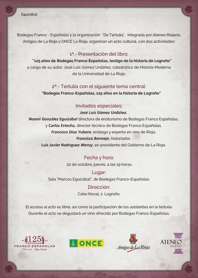 """Tertulia """"125 años de Bodegas Franco Españolas como testigo de la historia de Logroño"""""""